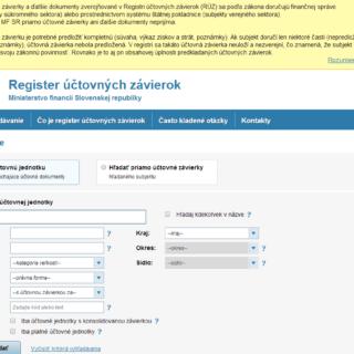 práca s registrom účtovných závierok